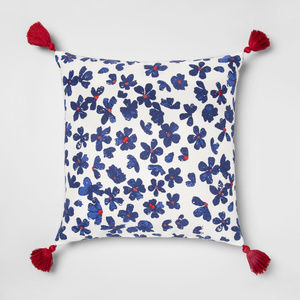 Blue, White & Red Floral Square Throw Pillow